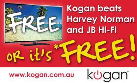 Kogan offers free TVs if pipped on price
