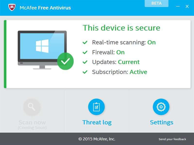 McAfee releases first McAfee Free Antivirus beta