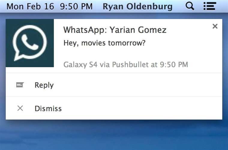Reply to WhatsApp, Hangouts messages directly from Pushbullet notifications