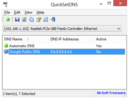 NirSoft releases QuickSetDNS 1.0