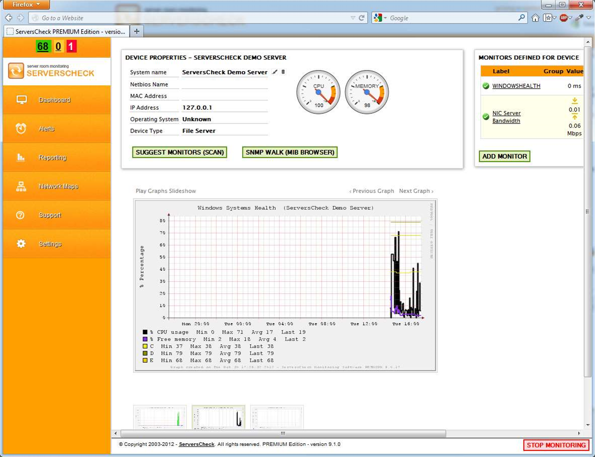 Enterprise network monitor ServersCheck now free