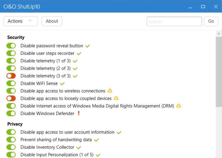 O&O ShutUp10 lets you lock down Windows 10′s privacy settings