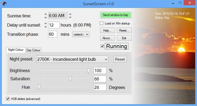 SunsetScreen dims your PC screen at night