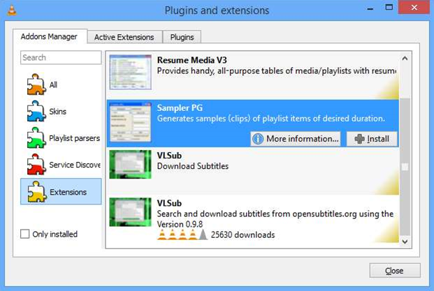 VLC 2.2.0 adds extension manager