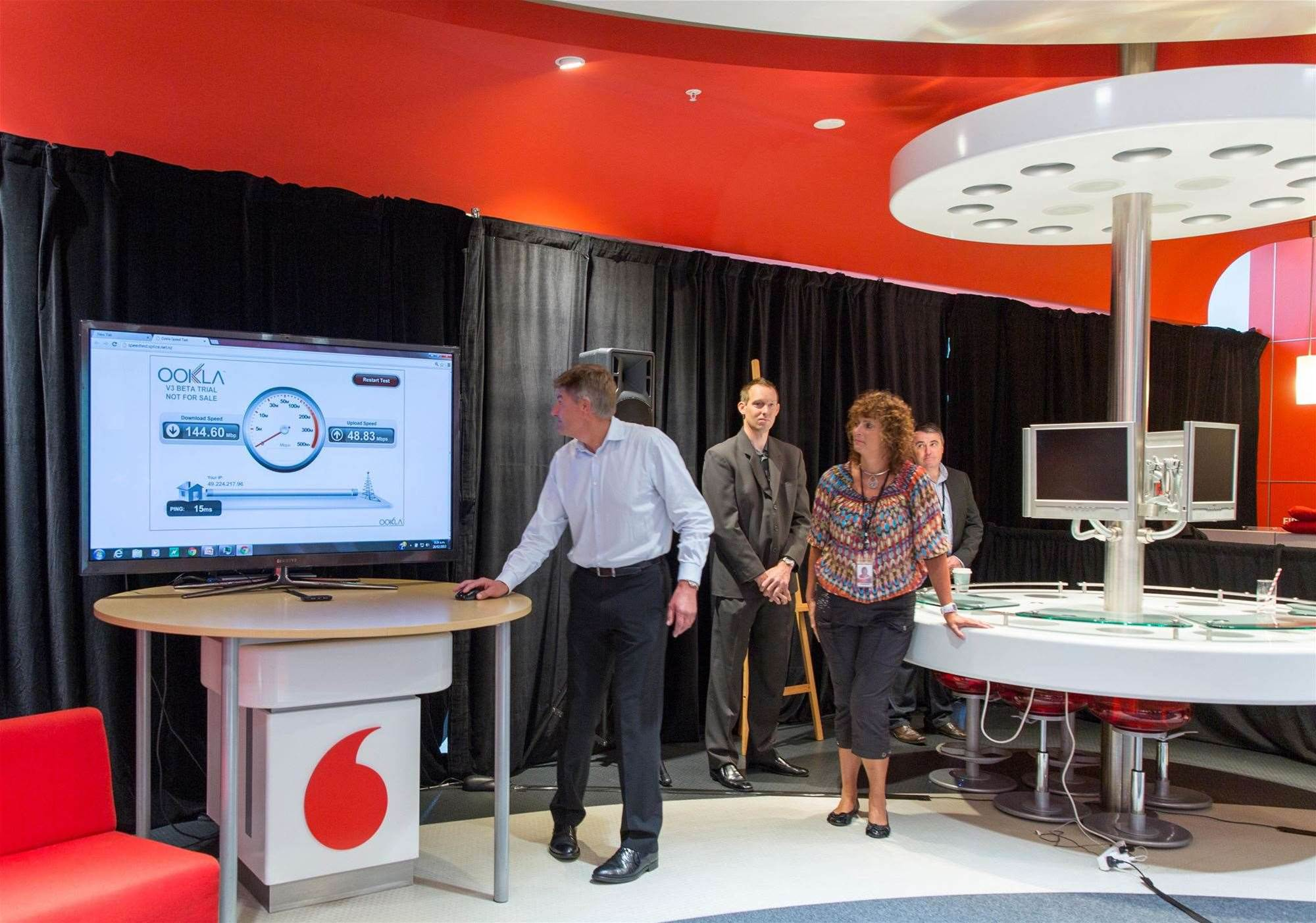 Vodafone head of networks Tony Baird shows off the 4G speeds