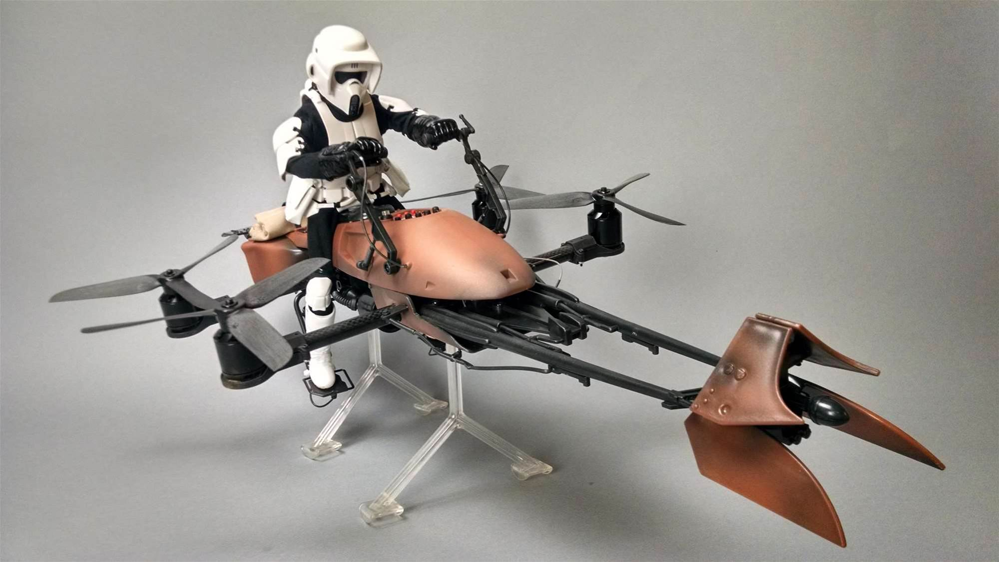 Star Wars Toy Converted Into Working Speeder Bike Drone