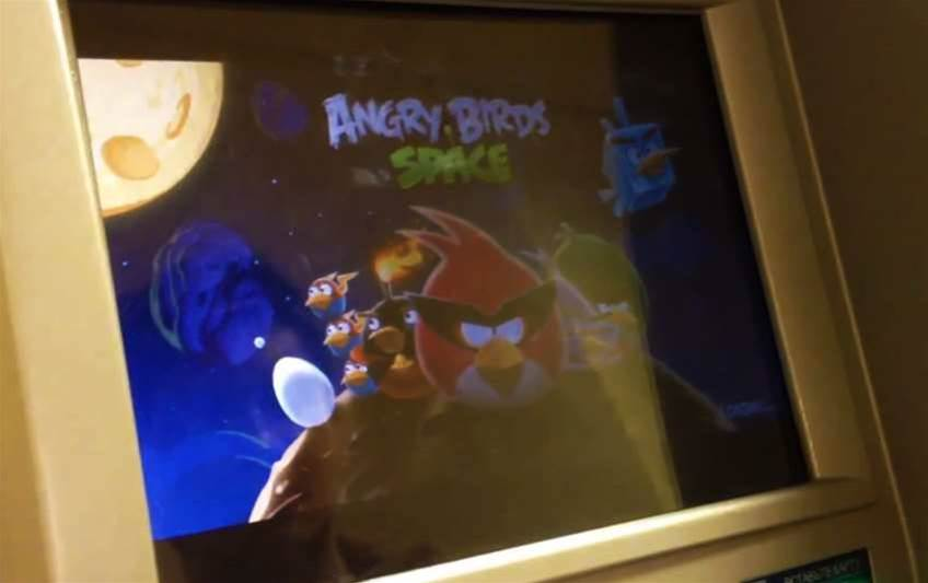 Hacked ATM plays Angry Birds