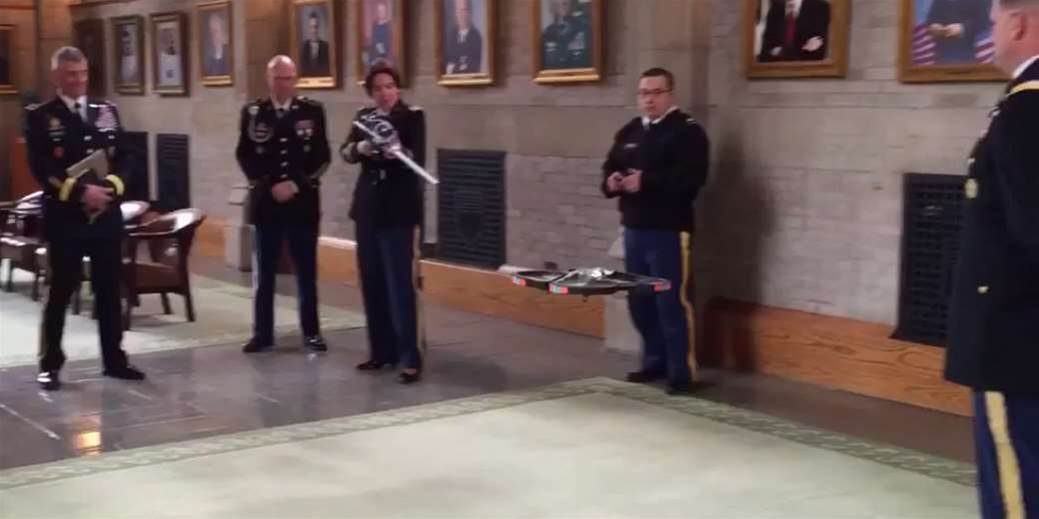 Solider Shoots Down Drone With Cyber Rifle At Defense Secretary's Feet