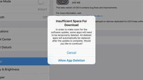 iOS 9 update can automatically delete apps