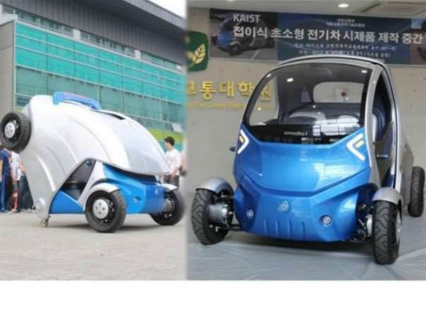 Armadillo-T electric car folds in half for simple parking