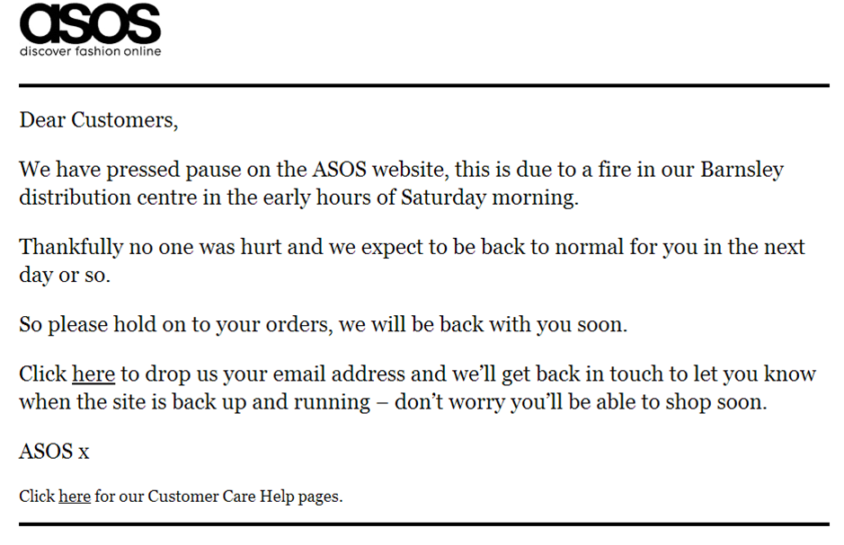 Warehouse fire forces Asos website offline