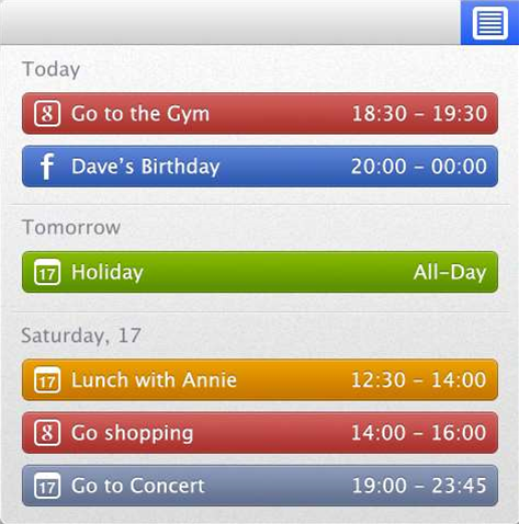 CalendarBar provides menu bar access to your calendars