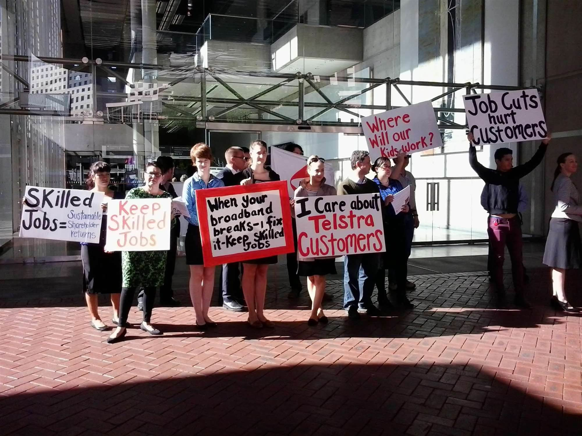 Photos: Union protests Telstra job cuts