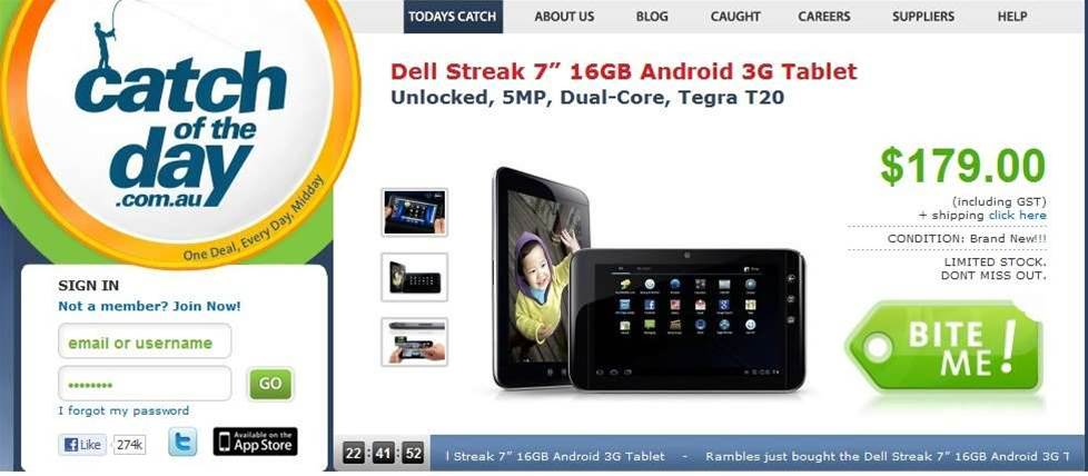 Dell Streak 7 sells cheap