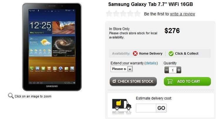 Hot Deal: Samsung Galaxy Tab 7.7 16GB for $276