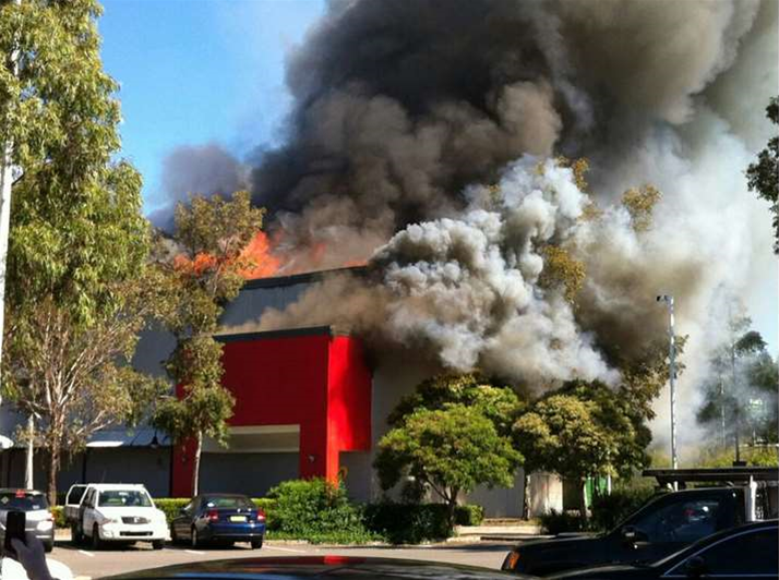 Harvey Norman store ablaze