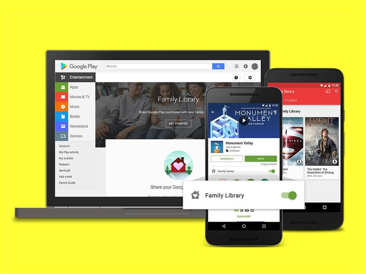 Play Store family sharing lets loved ones access your games, movies and books