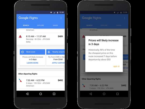 Google Flights will now guess when prices will increase