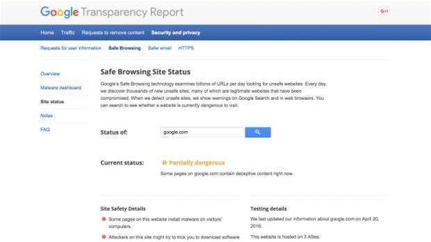 Google.com is 'partially dangerous' - according to Google