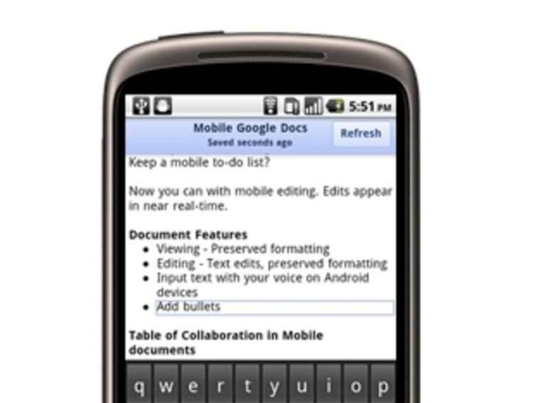 Mobile Google Docs catches Office