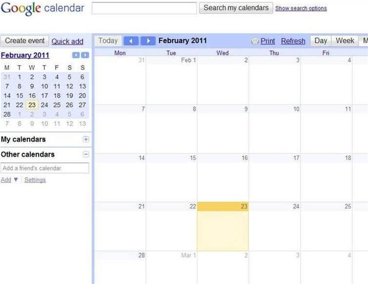 Bug blanks out Google Calendars