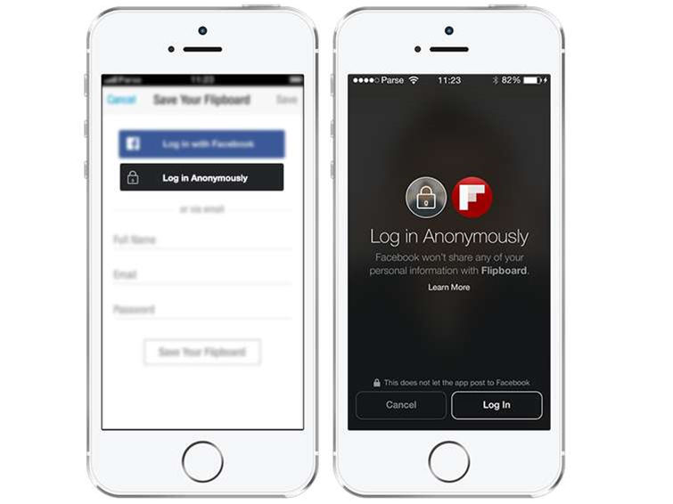 Facebook gives users anonymous login