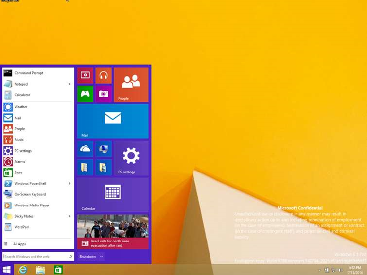 Windows 8.1 start menu leaks online