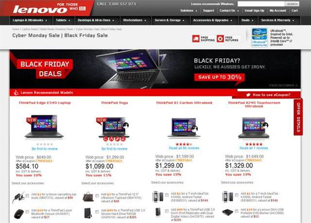 Lenovo advertising Android tablet for $1 with certain laptops on sale