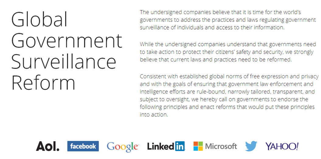 Tech giants call for more controls on surveillance