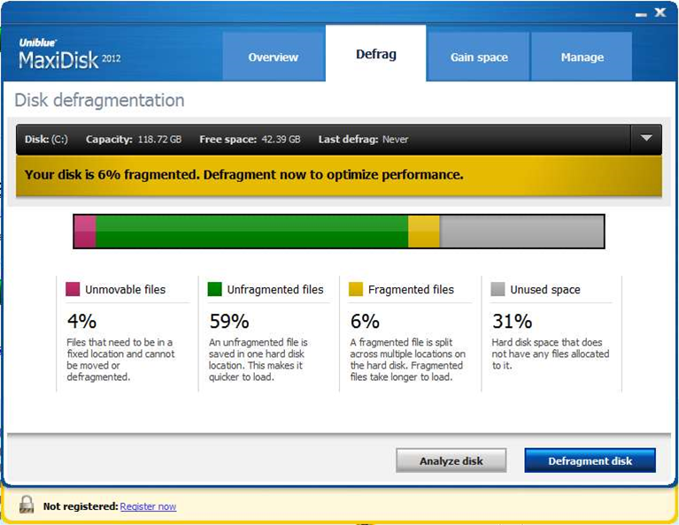Uniblue release MaxiDisk, a brand new disk defragmentation tool, but drop RegistryBooster?