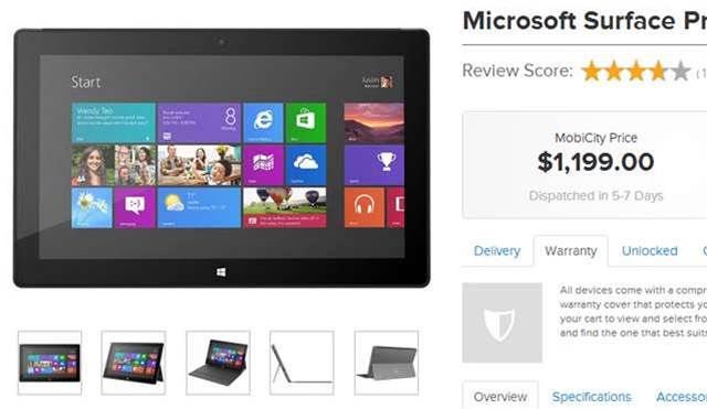 Mobicity and Expansys are selling the Surface Pro in Australia