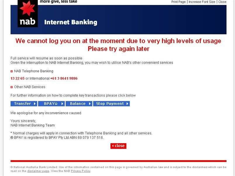 NAB internet banking goes black