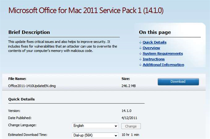 Microsoft releases Office for Mac 2011 Service Pack 1