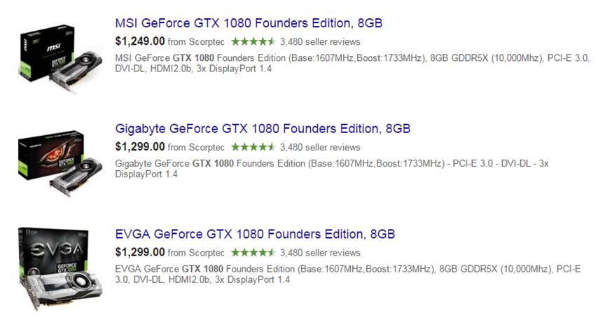 More GTX 1080s appear in Australian stores, and yes, $1299 looks to be the norm