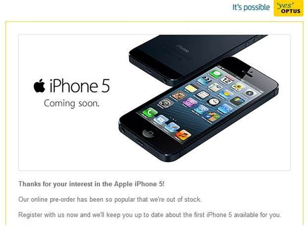 Optus sells out of iPhone 5 stock