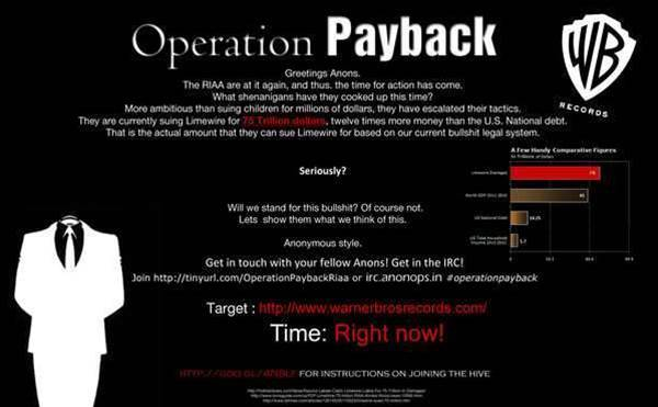 Anonymous hit Warner Bros in latest Operation Payback attack