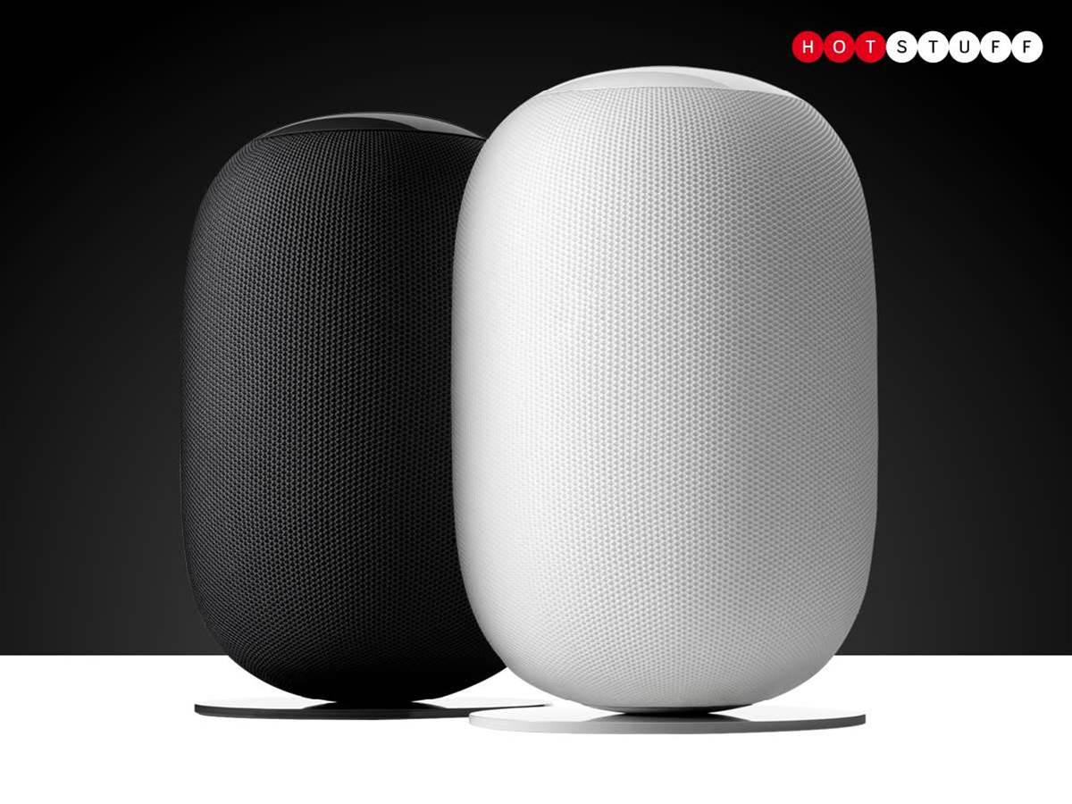 This pretty pod is a 360-degree streaming speaker you can talk to