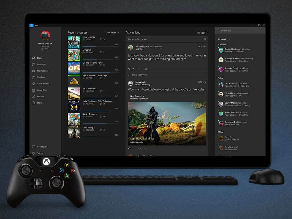 Windows 10 includes streaming games from Xbox One, DVR functionality, and cross-platform play