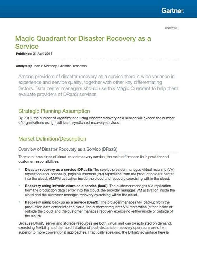 Gartner names IBM a 'Leader' for Disaster Recovery as a Service