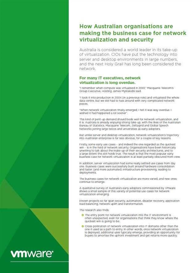 How Australian organisations are making the business case for network virtualization and security