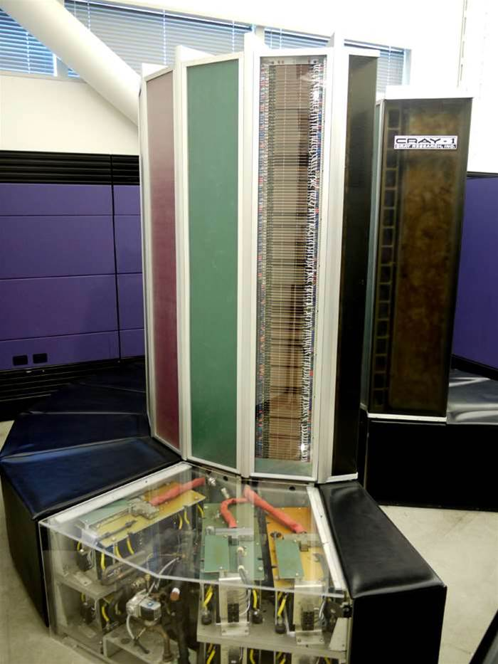 The sign on the right should send a happy shiver down your spine. This curvaceous device is a Cray-1 supercomputer, built in 1972. It was the fastest machine in the world until 1977 and an icon for decades. It cost a mere $6 million, and could perform at 160MFLOPS - which your phone can now comfortably manage.