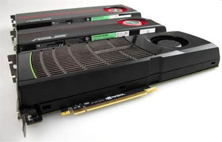 NVIDIA's GeForce GTS 480 (front) competes directly against the ATI RADEON 5870 (middle). For the truly hardcore user two of the GTS 480 cards in SLI compete against ATI's RADEON 5970 dual GPU card (rear)
