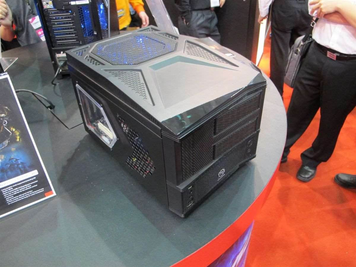 A Micro-ATX chassis from Thermaltake. One of the real trends we noticed was a push of 'gamer' features like windows and multiple fans into the small form factor space.