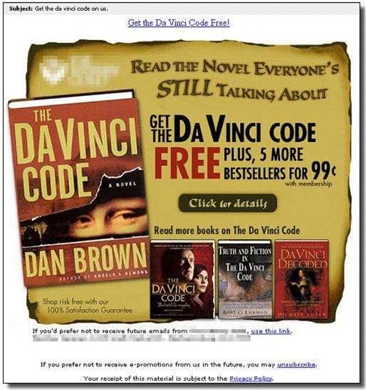Da Vinci Code spam requires leap of faith