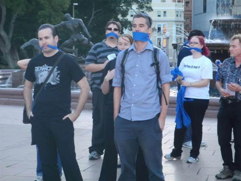 Photos: Sydney protesters gag on internet filter plan