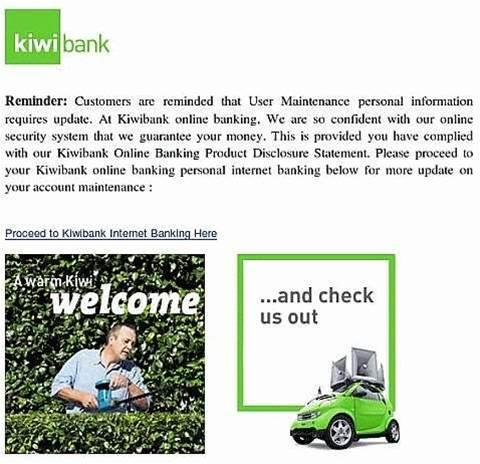 Kiwibank target of phishing scam