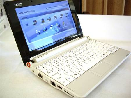 The white one: the sub 1Kg Aspire One runs a customised Linpus Linux Lite