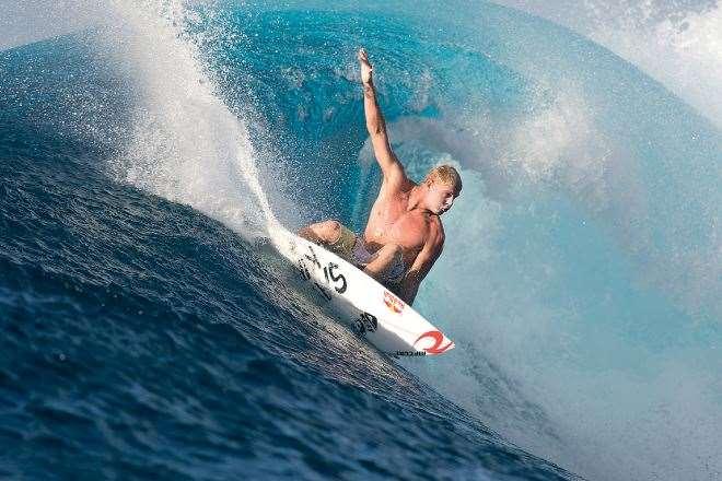 Mick drives his board through the P-Pass bowl