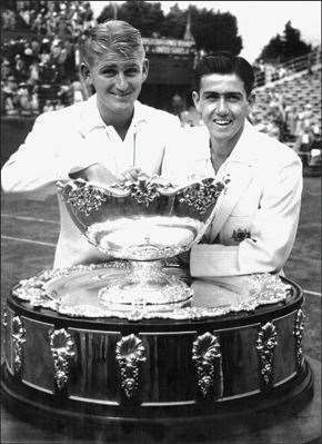 Ken Rosewall and Lew Hoad at the Davis Cup in 1953