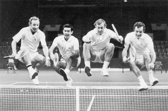 Rod Laver, Rosewall, Tony Roche and Tom Okker